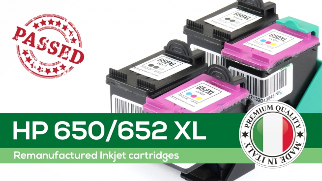 Remanufactured High Yield inkjet cartridges: HP 650/652 XL
