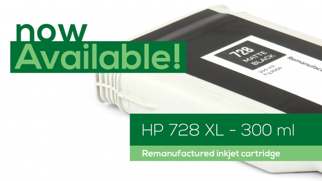HP 728 XL (300 ml) Inkjet cartridges now available!